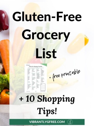 """A grocery shopping bag with """"Printable Gluten Free Grocery List"""" text overlay."""