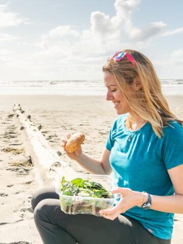 enjoying gluten free food on the beach