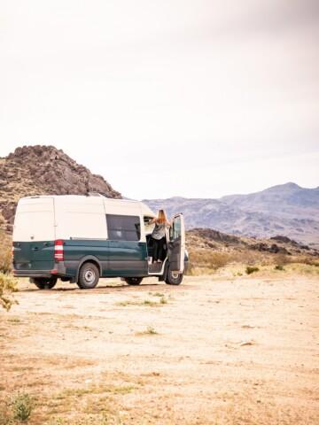 Camper Van in the Mojave desert