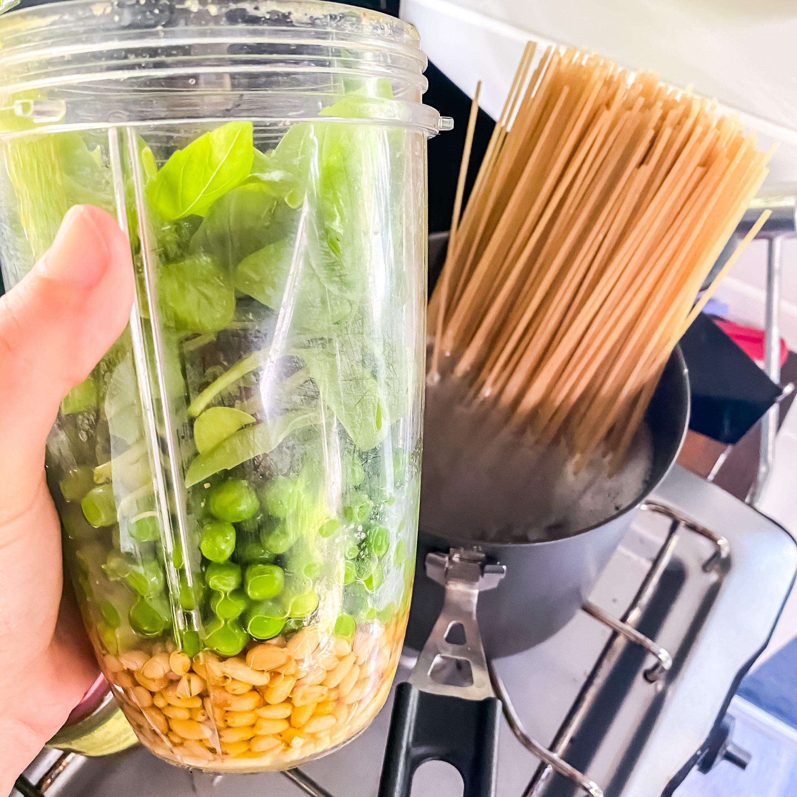 Pea Pesto Pasta Ingredients in a blender