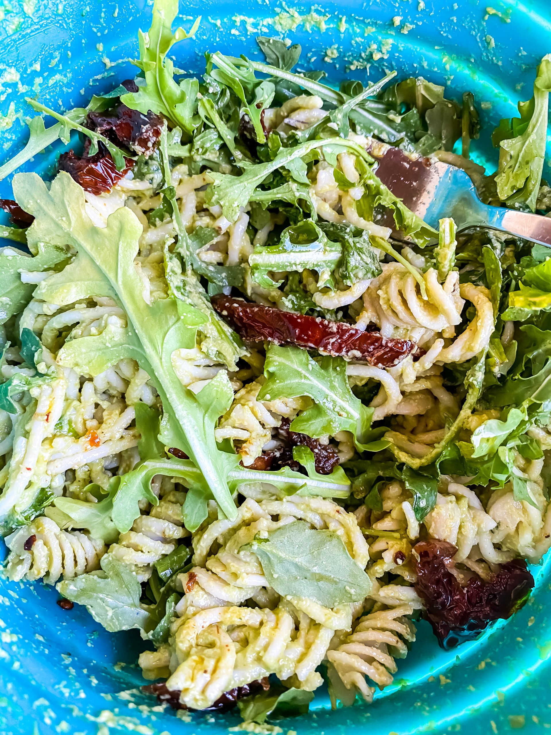 Pea Pesto Pasta ingredients tossed and ready to serve!