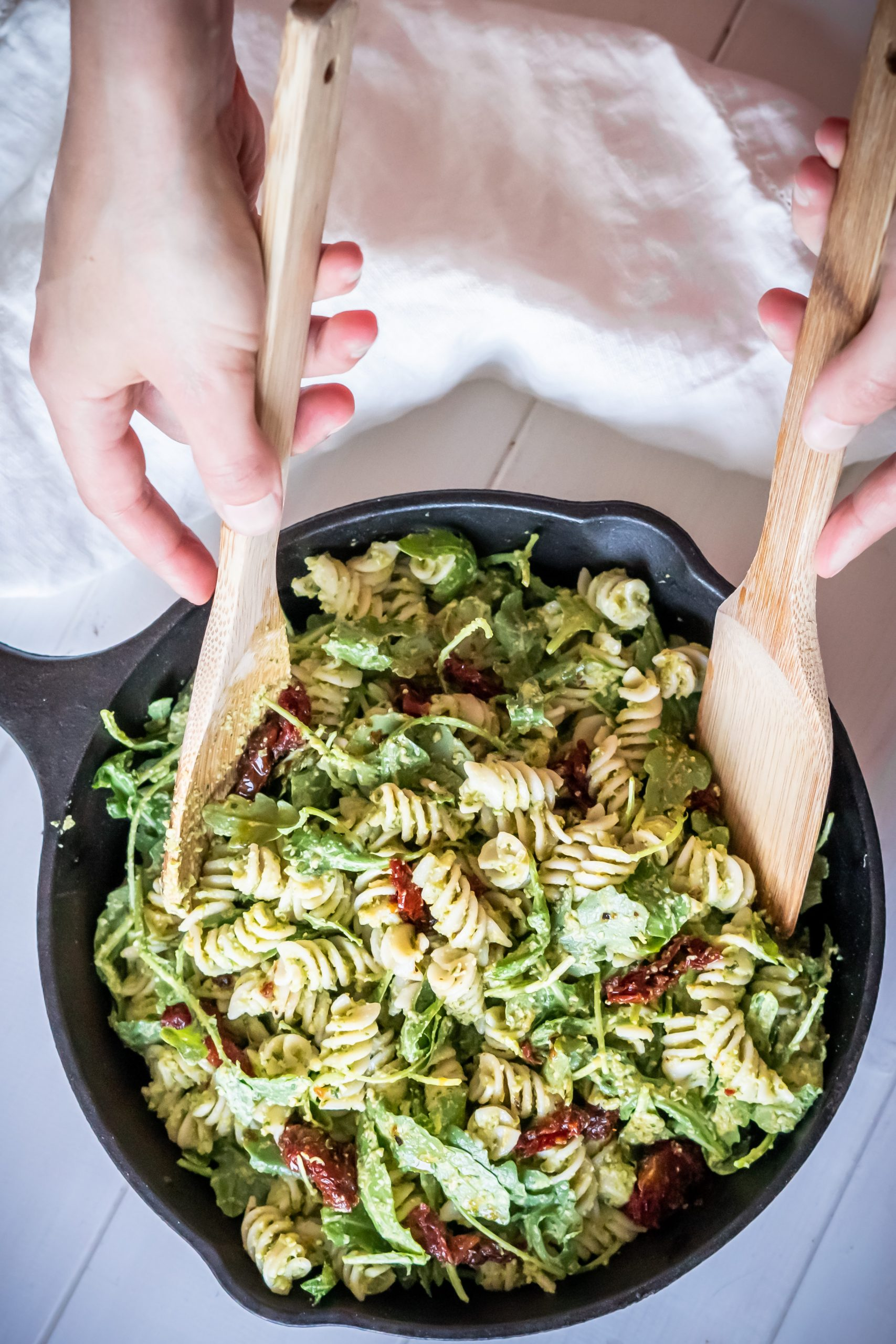 Serving a large plate of Pea Pesto Pasta