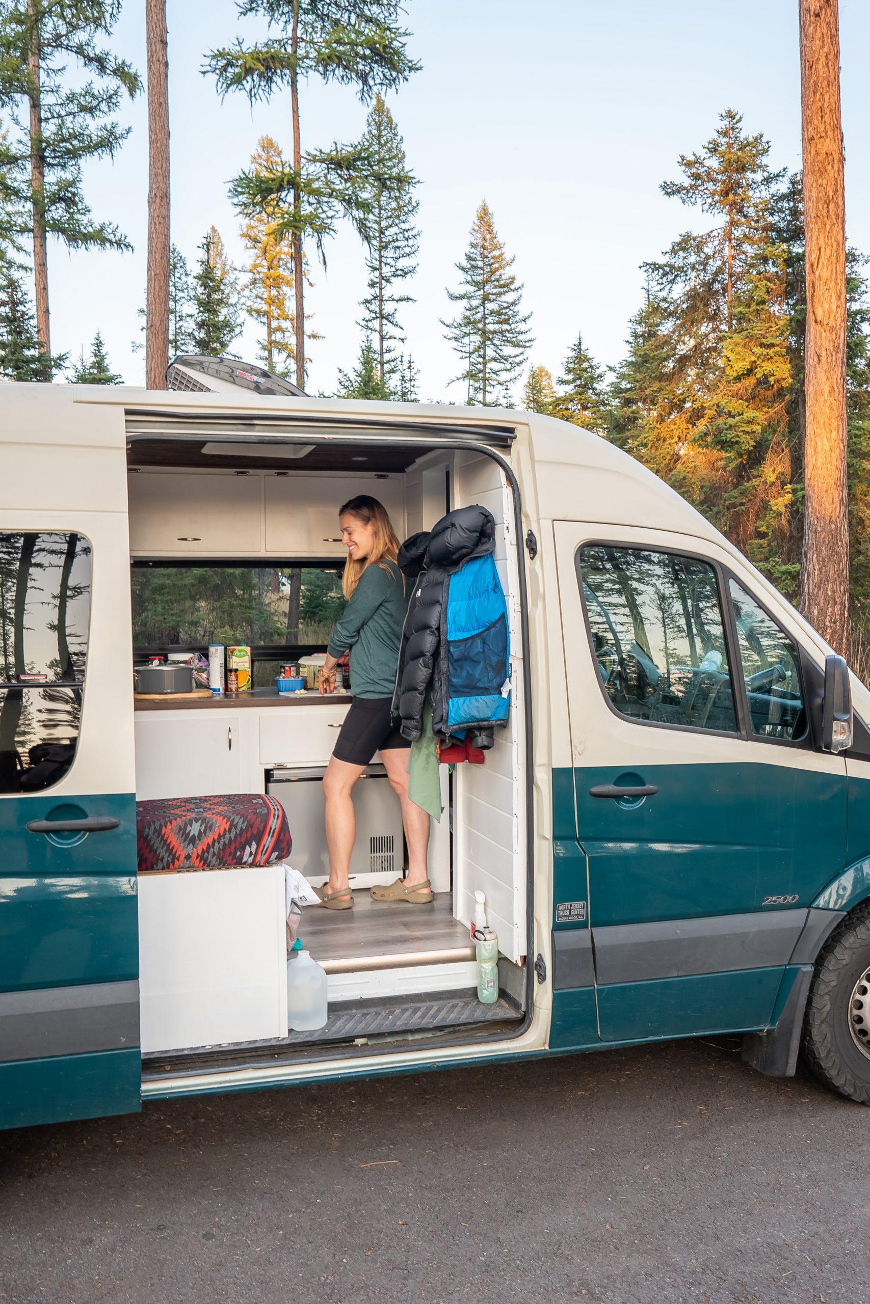 Using my van life kitchen essentials in a Montana campsite