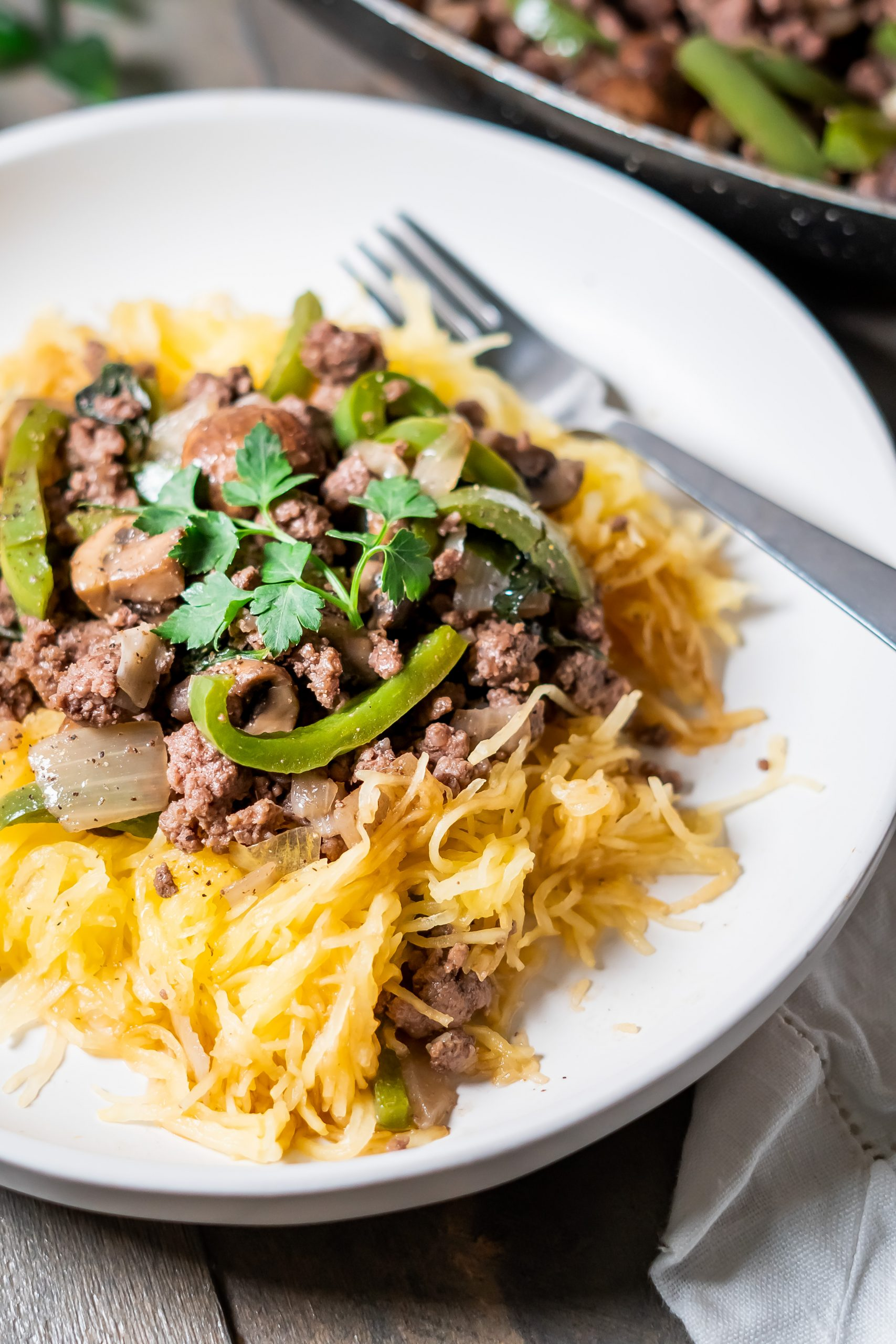 Baked spaghetti squash with beef and veggies feature photo