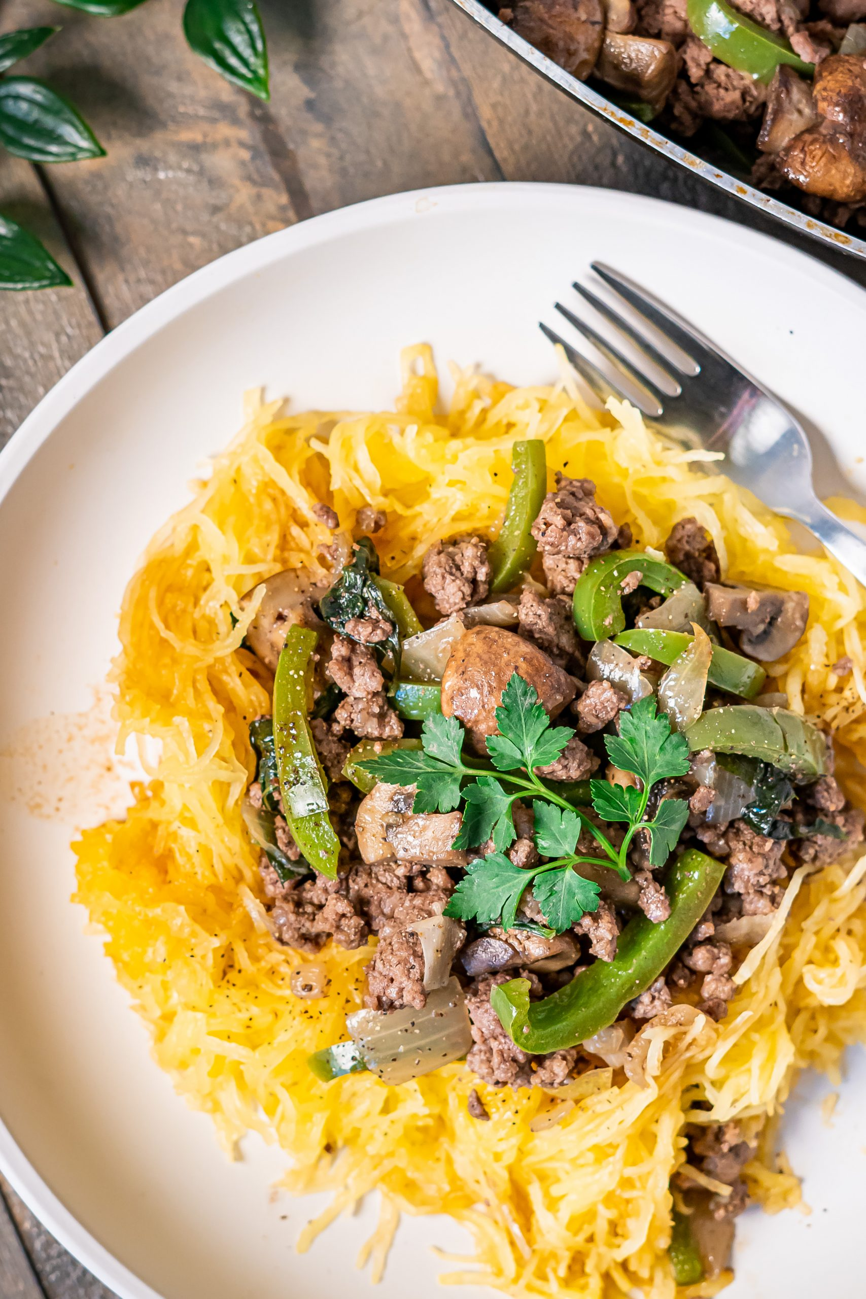 Baked spaghetti squash with beef and veggies close-up photo