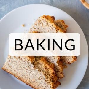 "Gluten Free Irish Soda Bread slices with ""Baking"" text overlay."