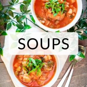 """Gluten free tomato soup recipe with """"Soup"""" text overlay,"""