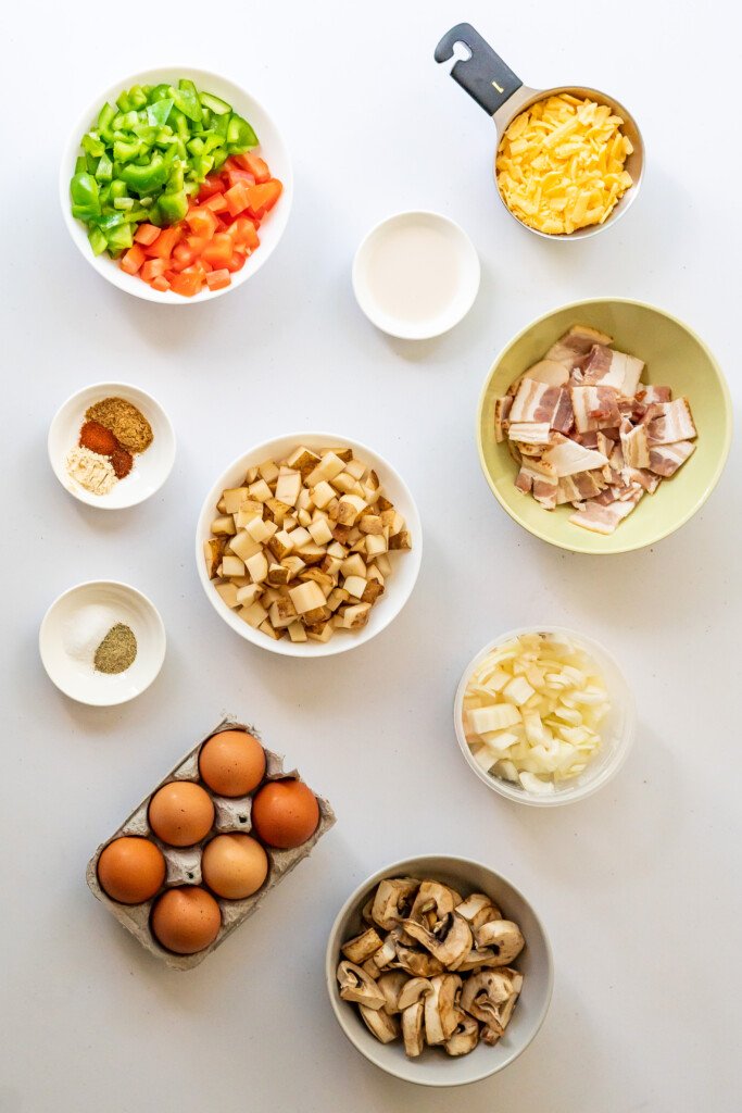 An overhead view of the 10 ingredients you need to make the Southwest Breakfast Skillet.
