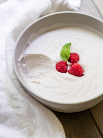 Side view of a bowl of coconut dairy-free whipped cream with a scoop removed to show the light and fluffy texture.